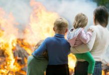 Family Mom Children Watching House Burn Down Fire Flames