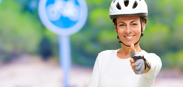 woman biking helmet