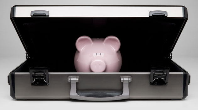 piggy bank in briefcase