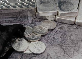 silver coins bars on top map?