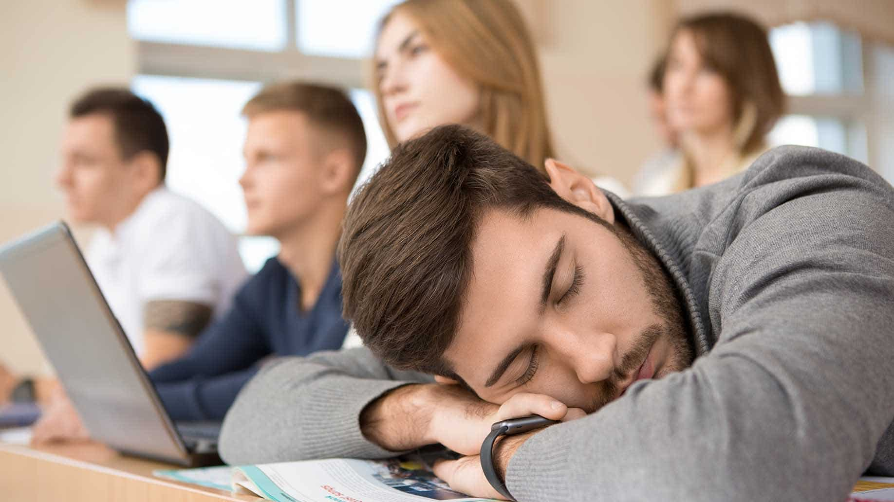 tired handsome male student sleeping on