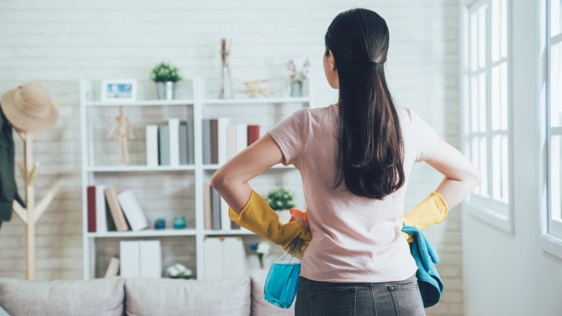 Woman Cleaning Apartment Tidy