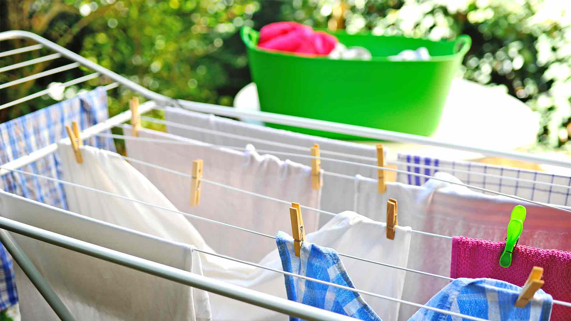 freshly washed clothes drying outdoor