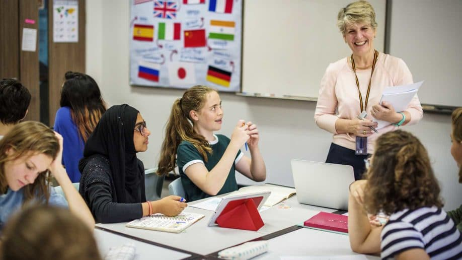 students learning a foreign language