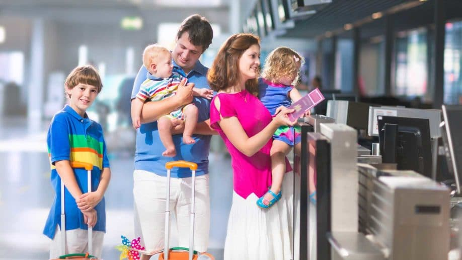 family in the airport check in counter?