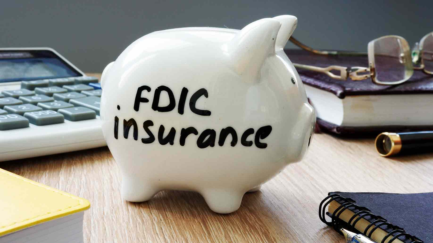 fdic insurance policy piggy bank in office desk