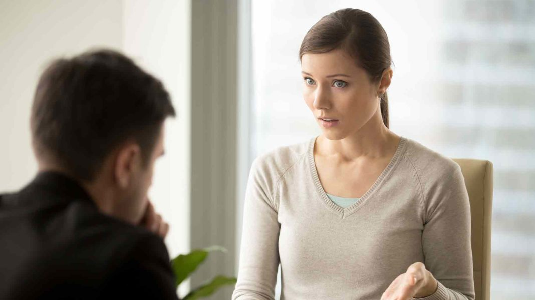 irritated businesswoman disappointed about agreement conditions