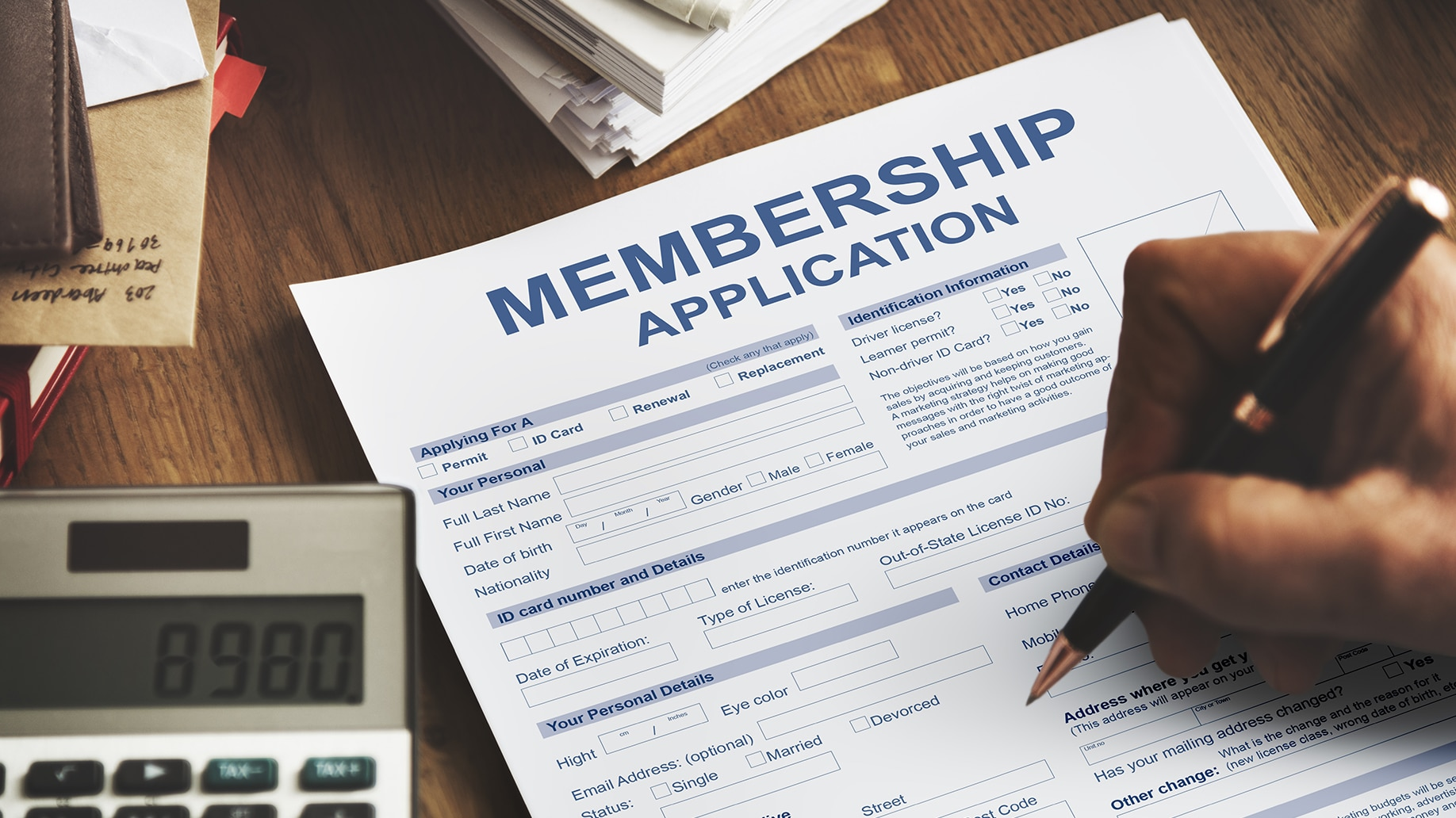 hand writing in membership application form