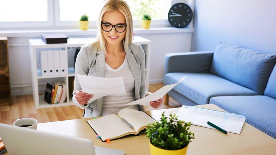 attractive woman working home office some?