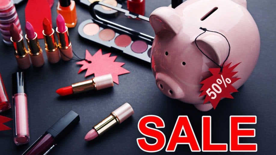 red sale on cosmetics
