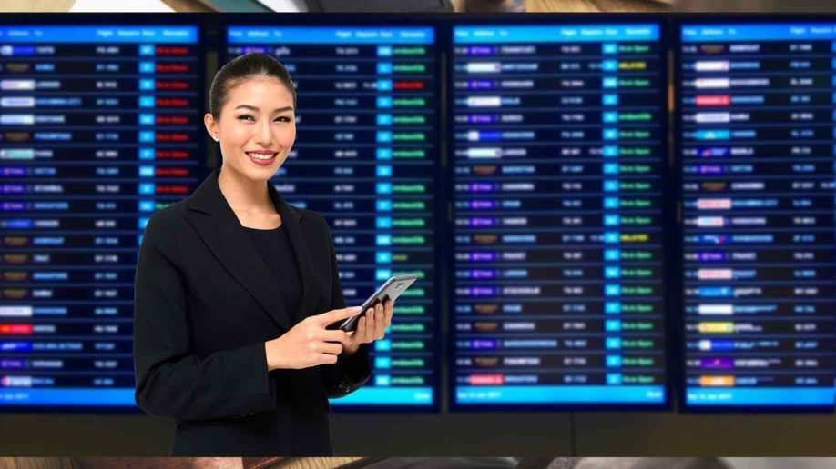 business woman checking the stock market