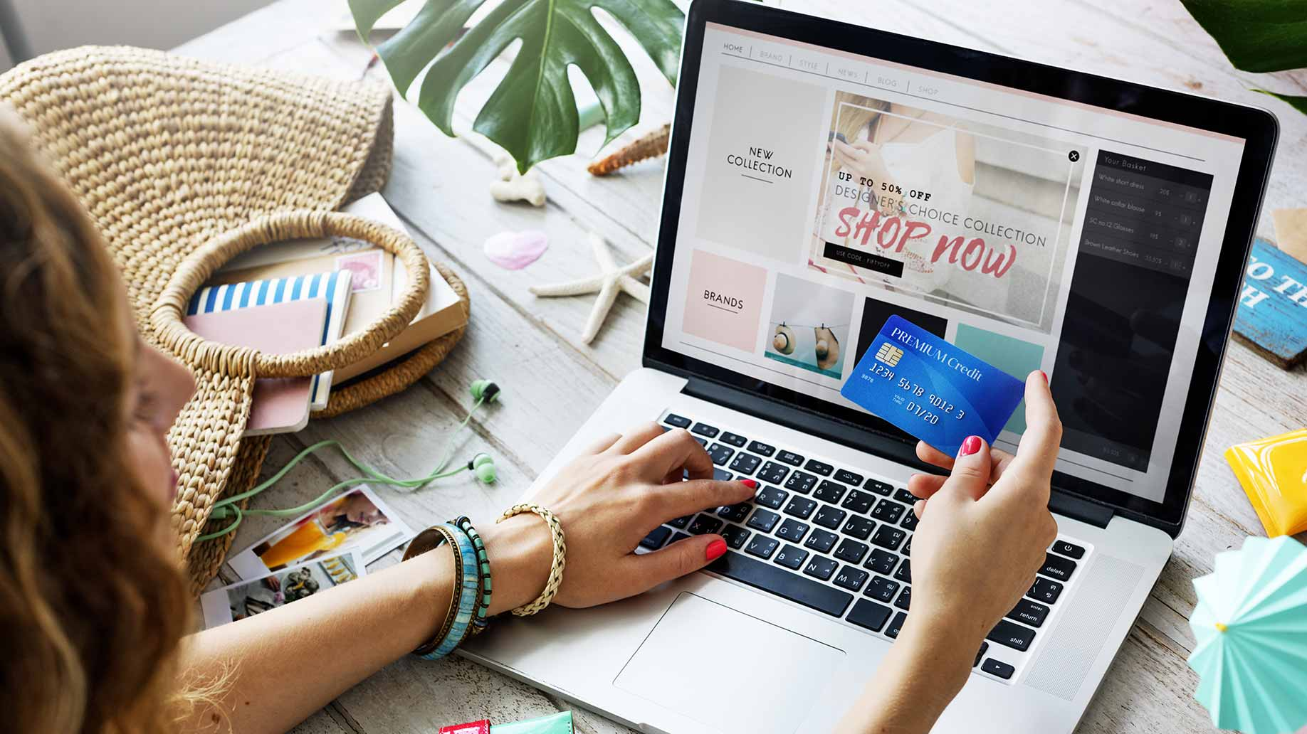 woman shopping online credit card
