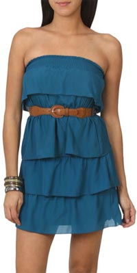 wet seal tiered belted tube dress