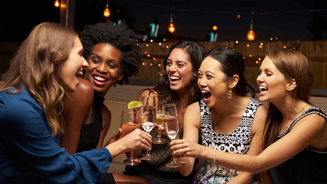group female friends enjoying night out?