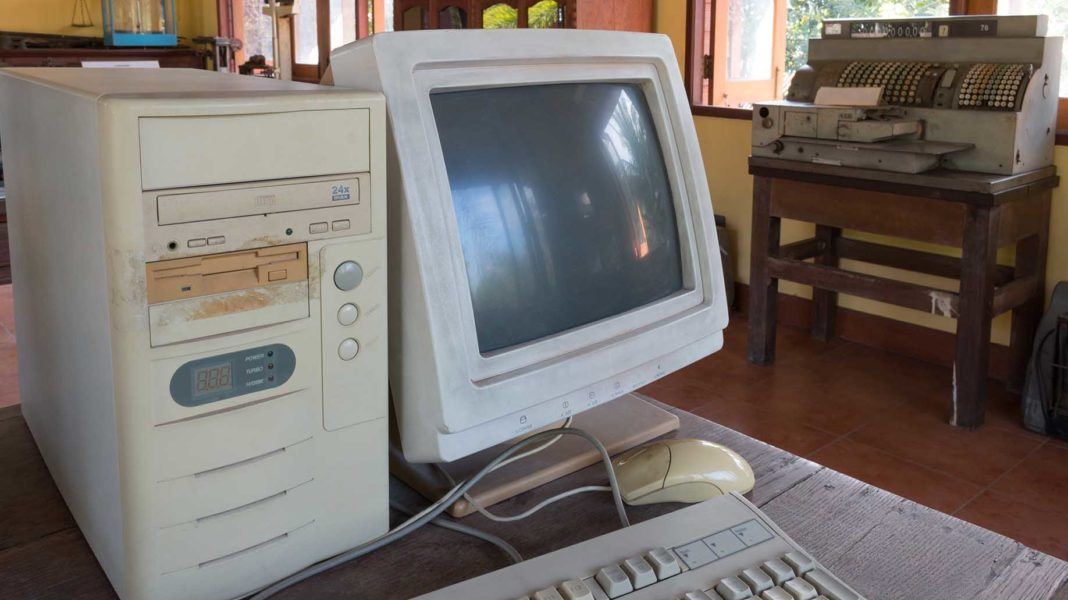 closeup ancient old obsolete personal computer