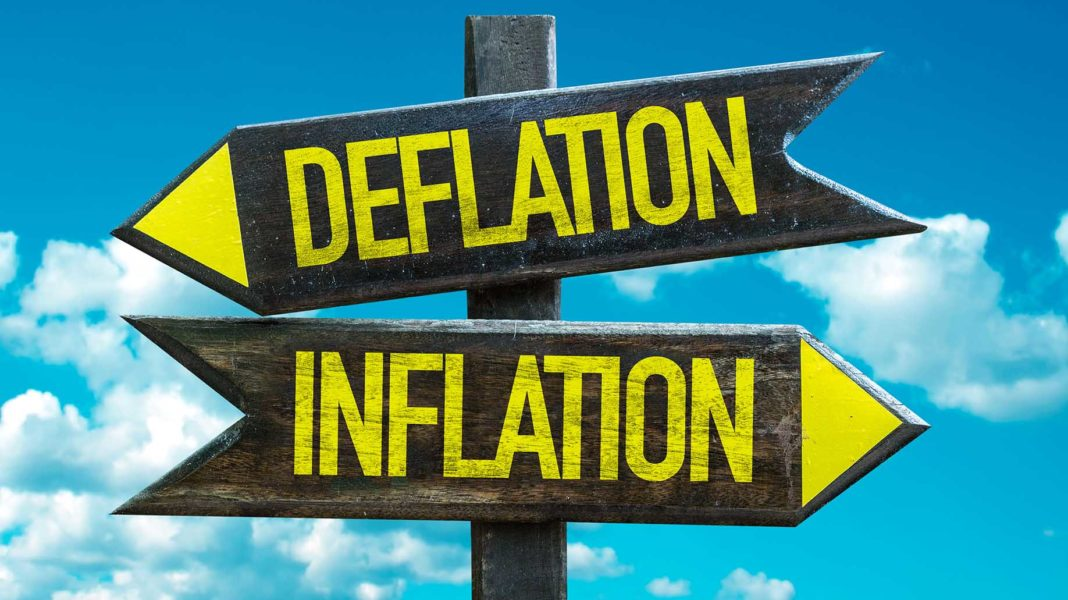 deflation inflation signpost sky background?