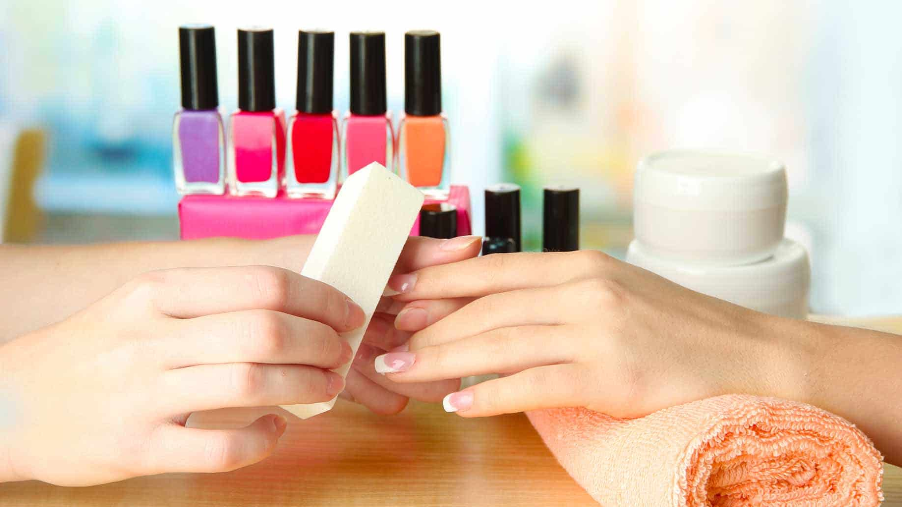 manicure process beauty salon close