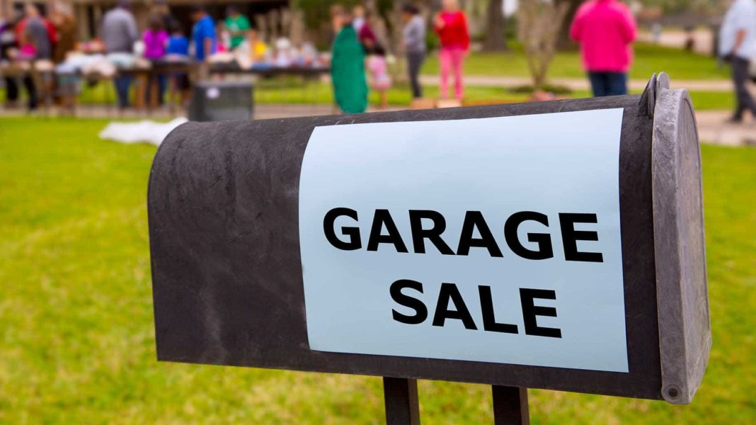 people having a weekend garage sale