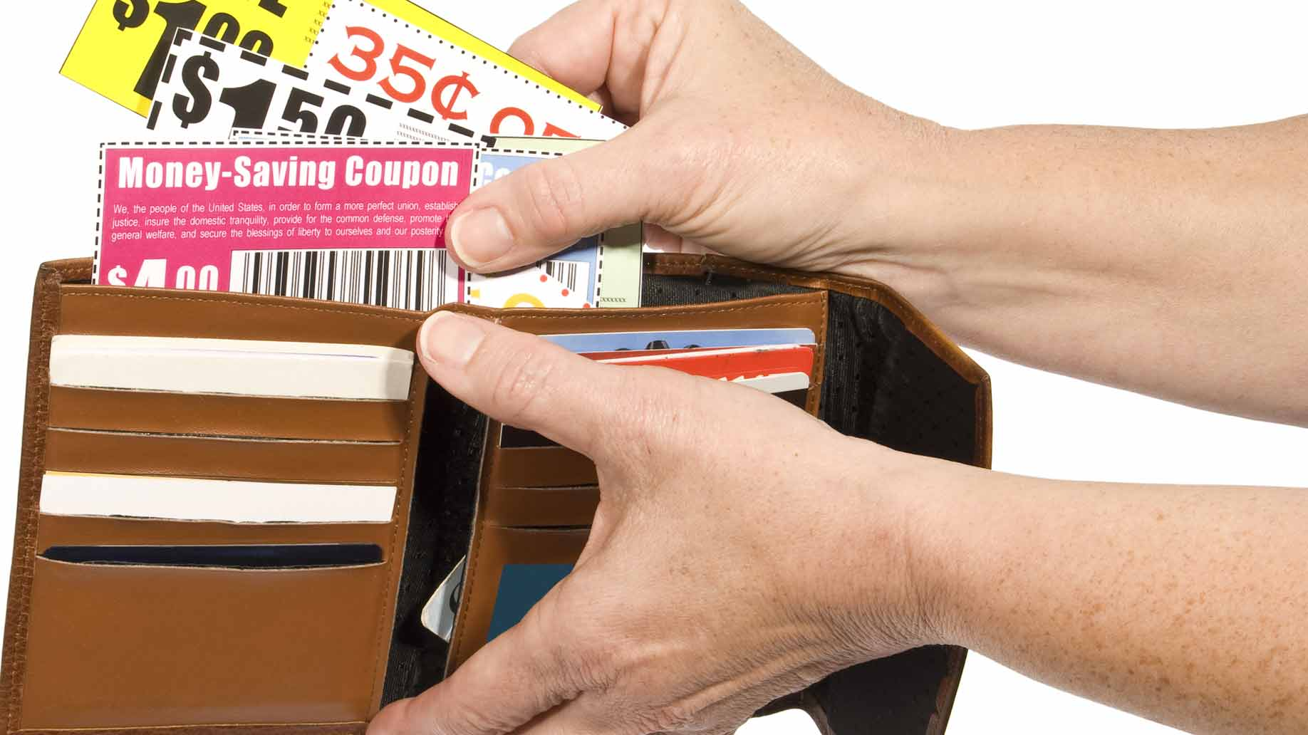 taking coupon out of wallet