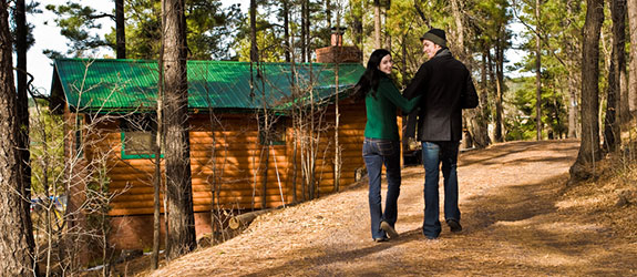 couple at a cabin