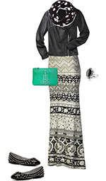 edgy maxi skirt outfit