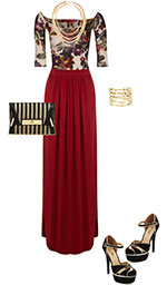 holiday maxi skirt outfit