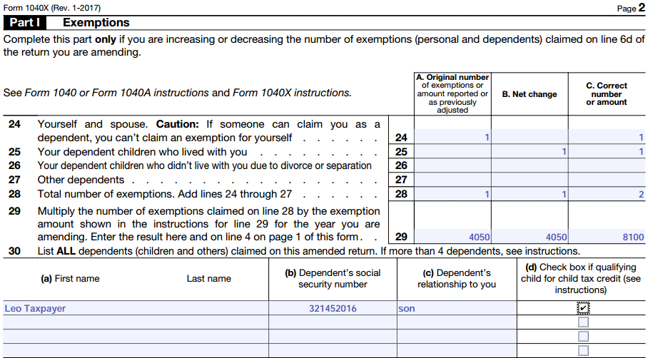 1040x tax form exemptions