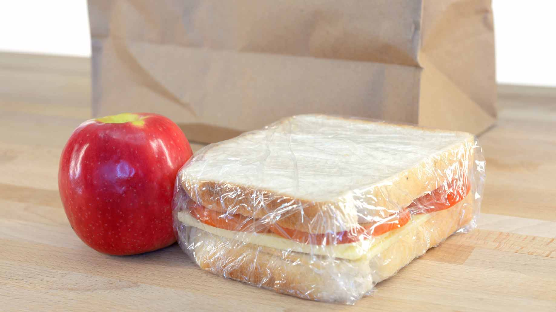 brown bag lunch sandwich apple