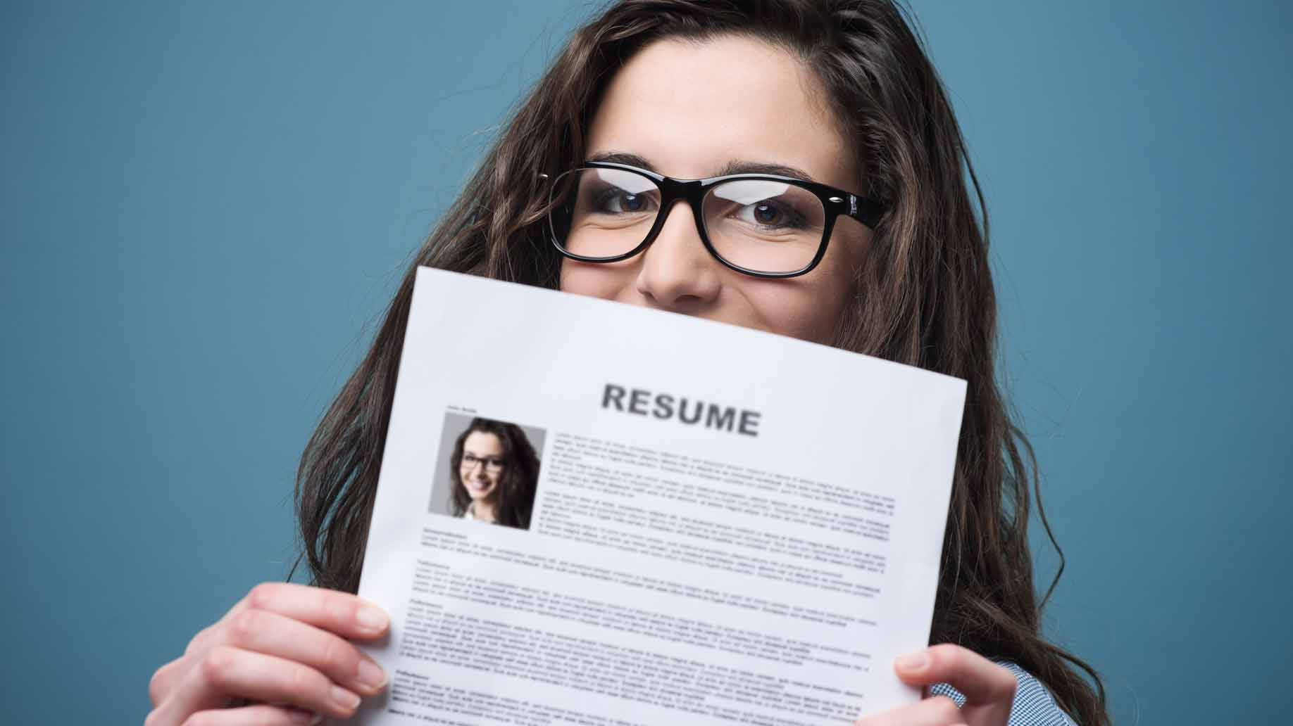 young woman with her resume