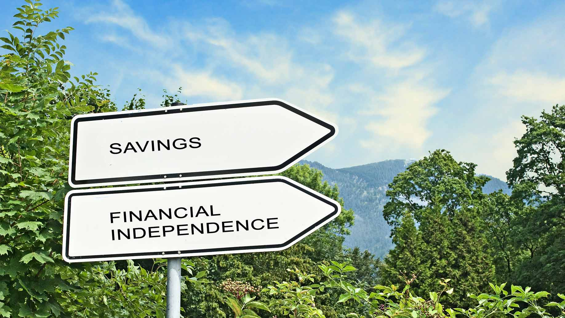 signs pointing toward savings and financial independence