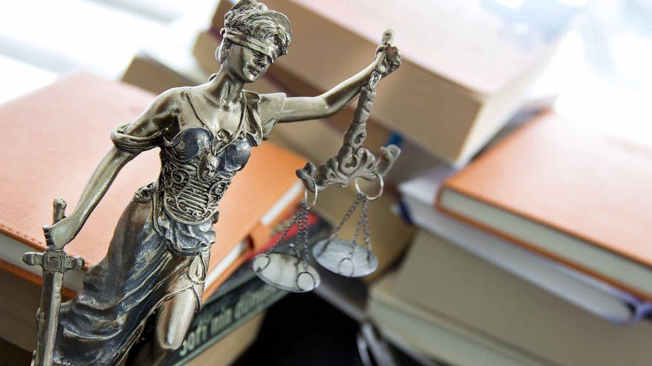 lady justice with legal books