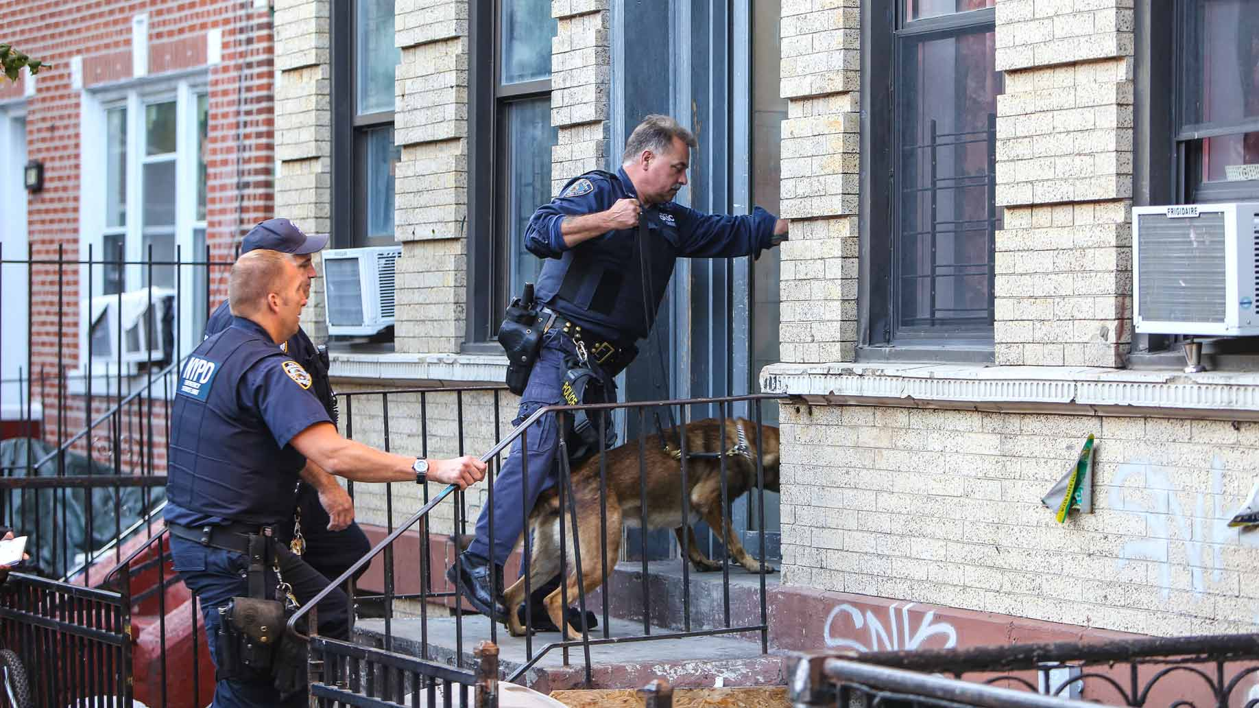 police enterin a house to search, photo by a katz