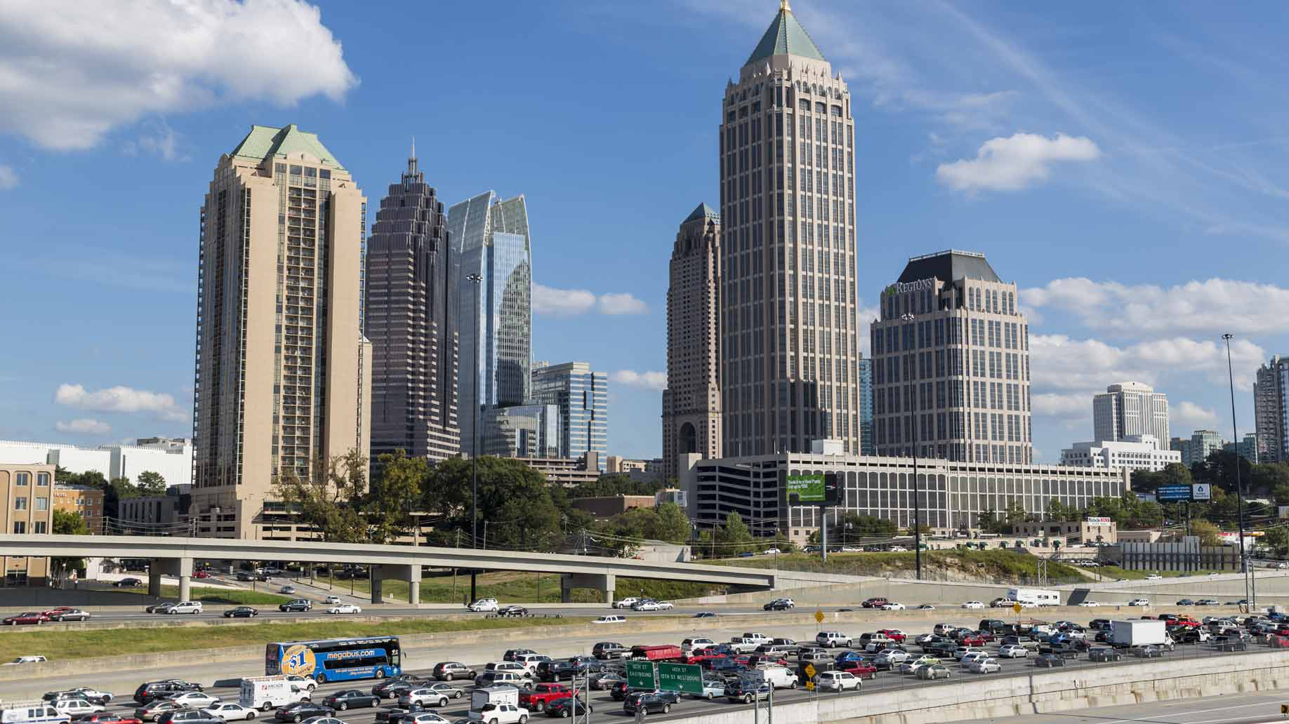 atlanta skyline and interstate 75 and 85, photo courtesy JSvideos