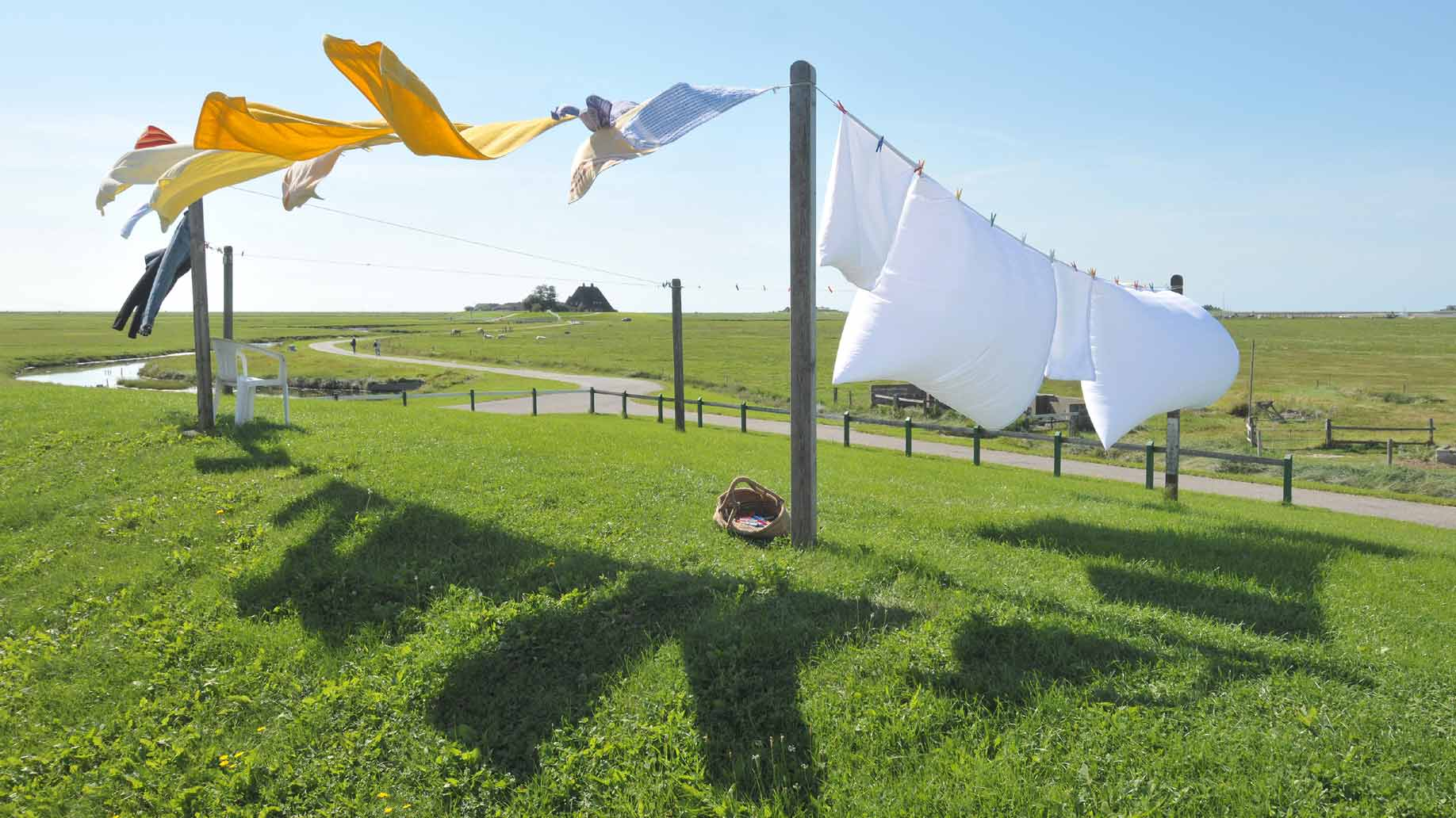 clothesline drying clothes