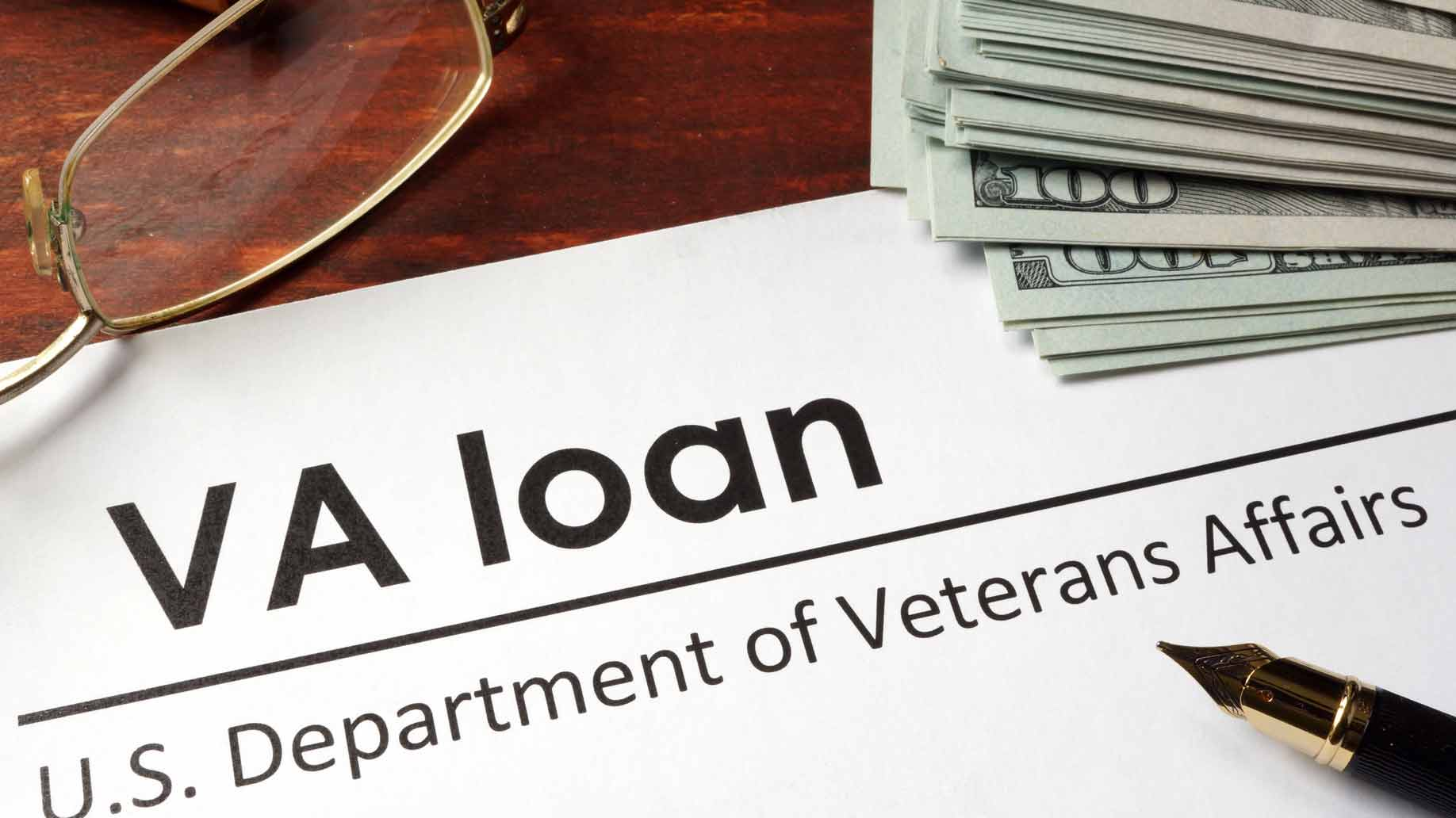 va loan paperwork and money