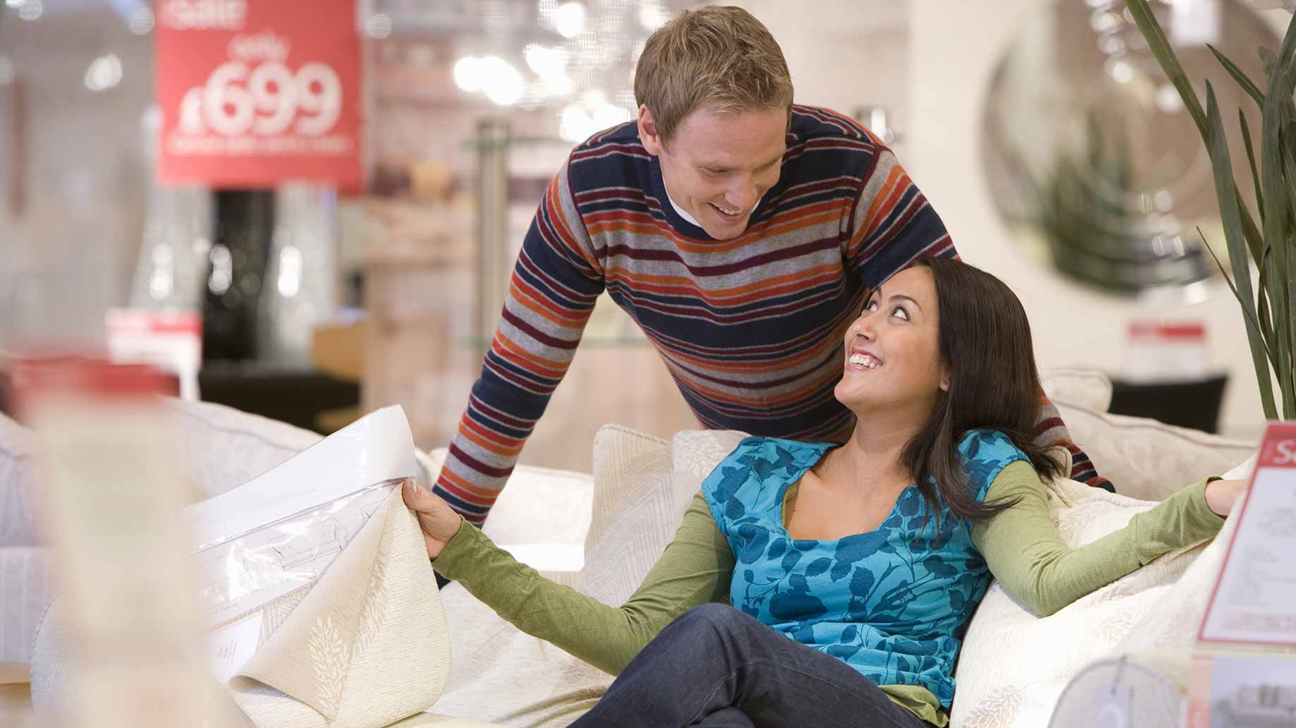 couple furniture shopping couch