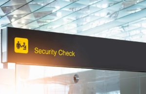 close-up of airport security check sign