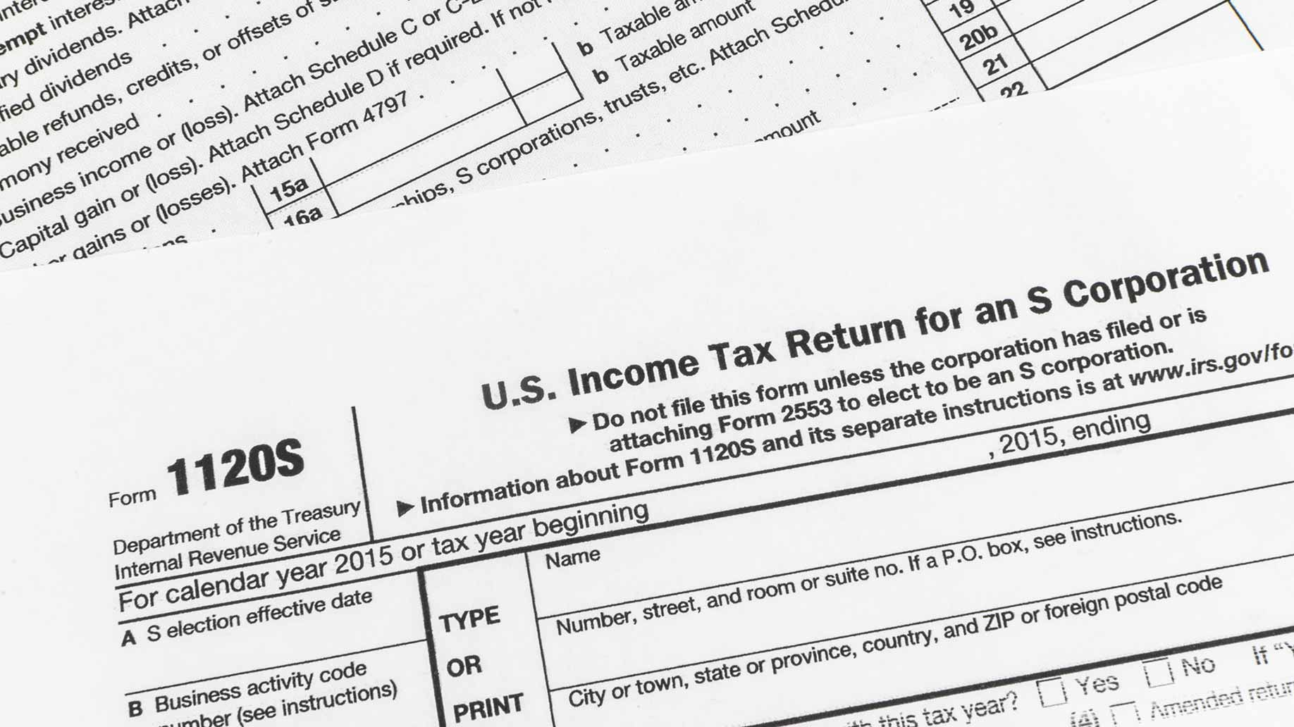 close-up of irs s-corporation income tax form