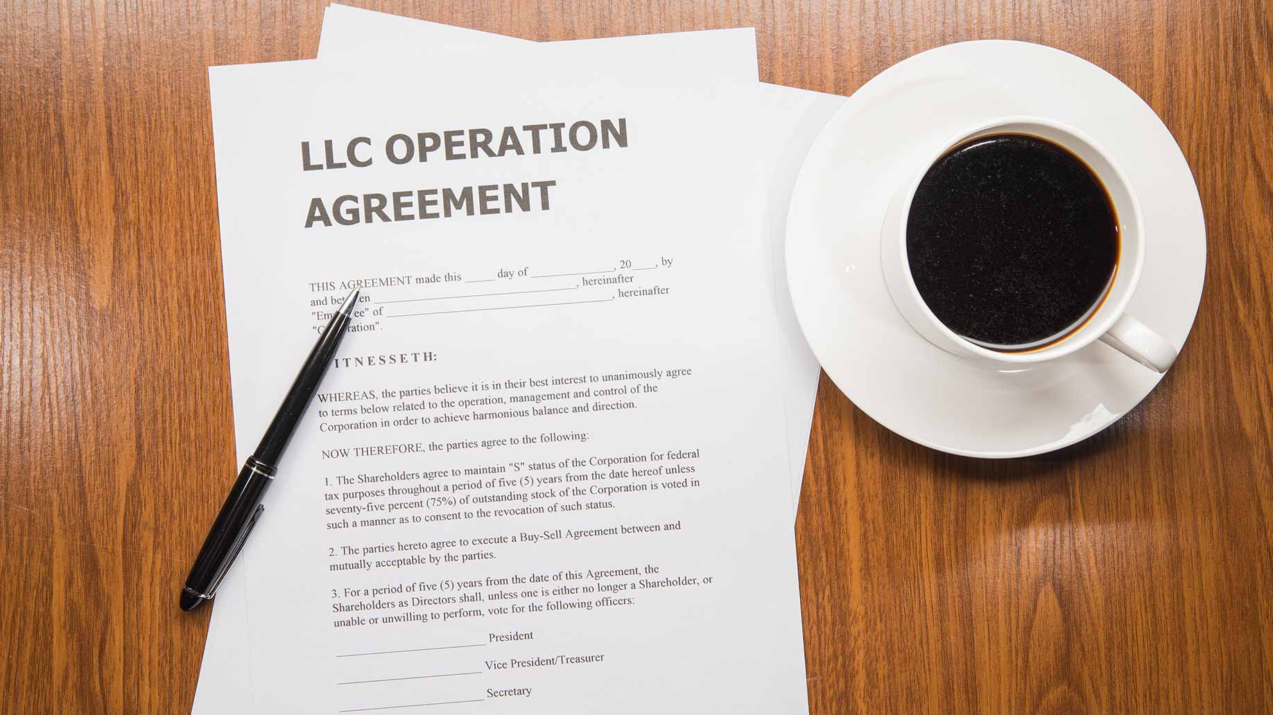 close-up of limited liability company operation agreement