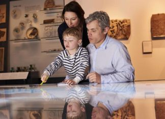 family looking at map together in museum