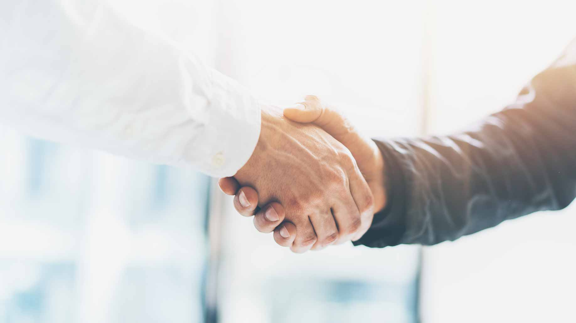 two people shaking hands to cement business partnership