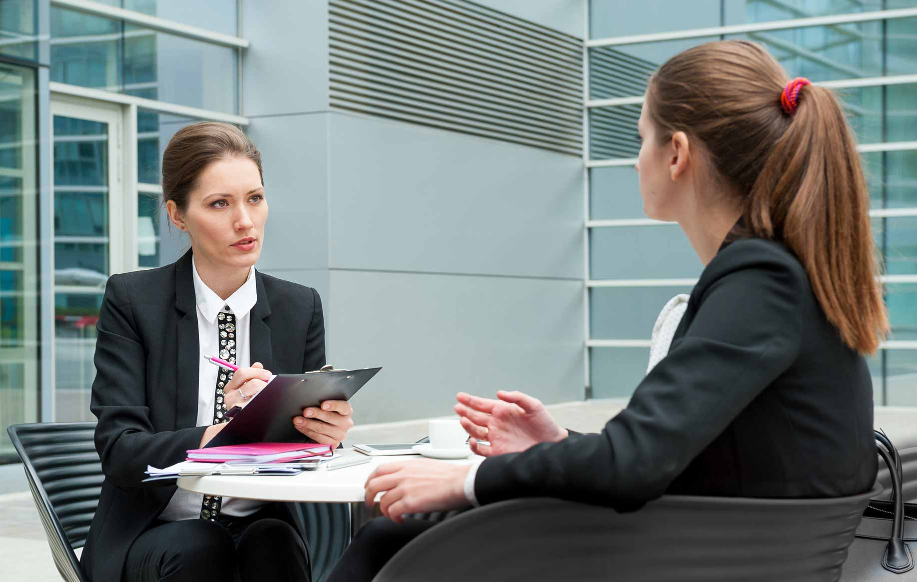 market research study candidate completing screening interview