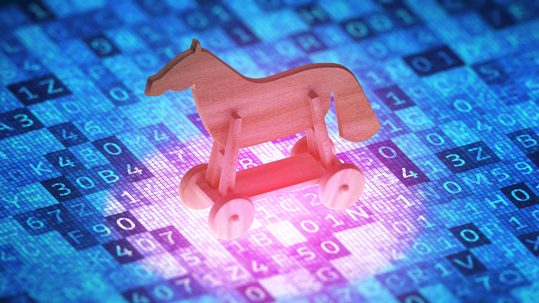trojan horse on top of computer code cyber security concept
