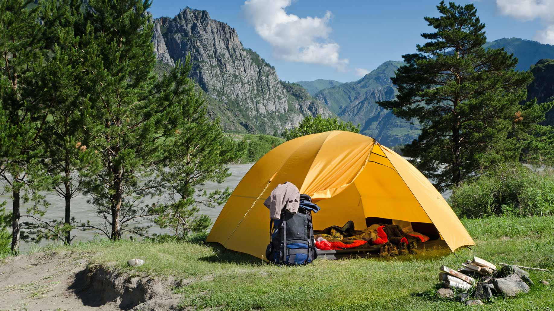 camping trip tent mountains