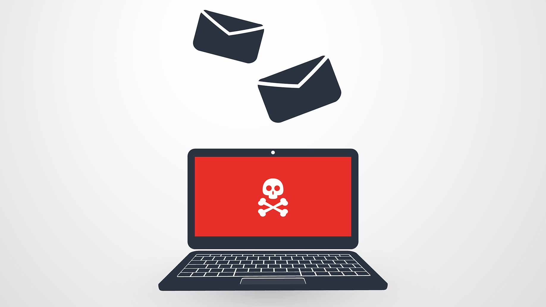 illustration of a computer screen with skull and crossbones showing spam e-mail