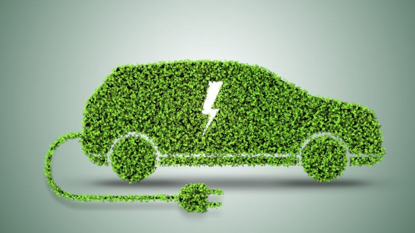 Electric Car Green Plug Lightning
