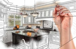 hand drawing kitchen renovation design