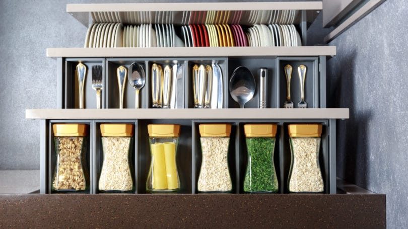 Organized Kitchen Decluttered Spice Rack Utensils Drawers