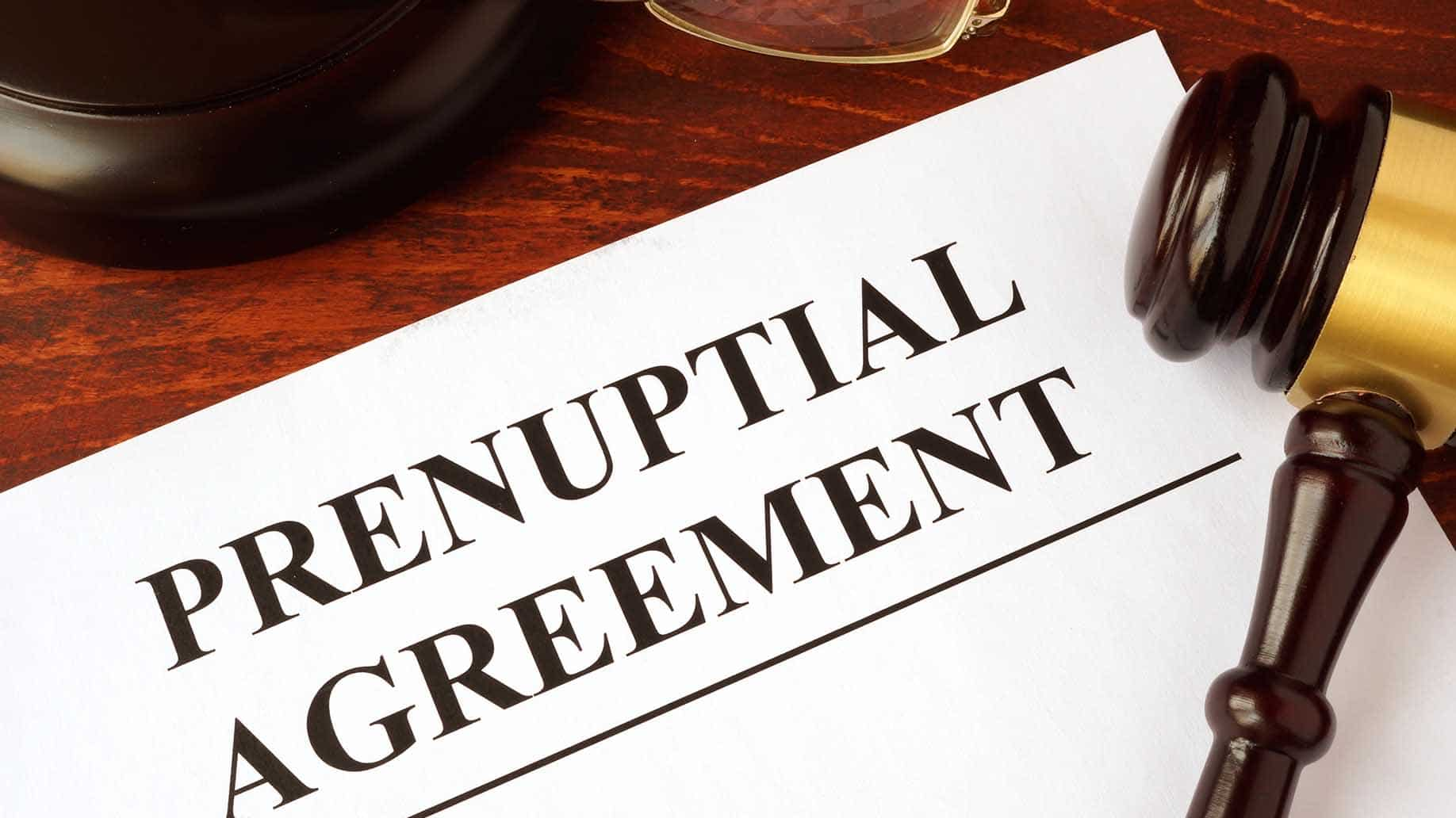 prenuptial agreement documents on a table