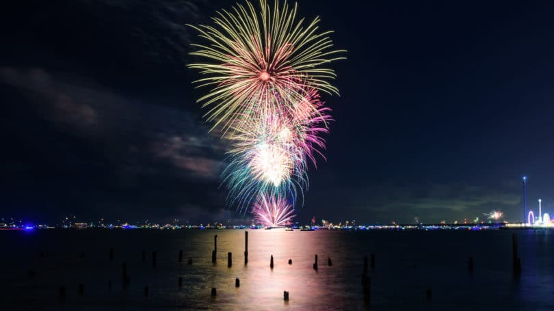 Galveston Texas Fireworks Beach Shore